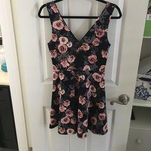 Rose mini flare dress